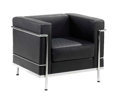 610-1 Black leather reception sofa