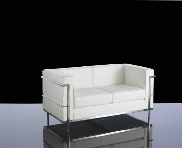 610-2 White Leather 2 seater reception sofa