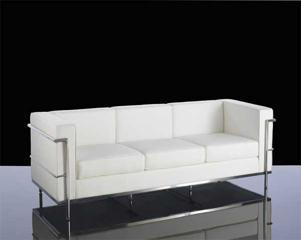 610-3 White Leather 3 seater reception sofa