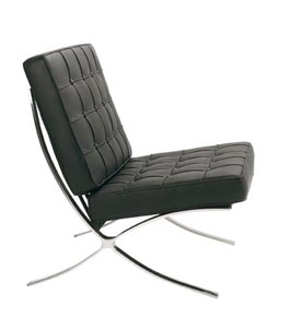 ClASSIC 710-1 BLACK LEATHER BARCELONA CHAIR