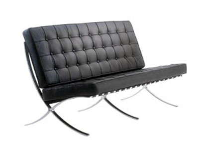 710-2 BLACK LEATHER BARCELONA CHAIR