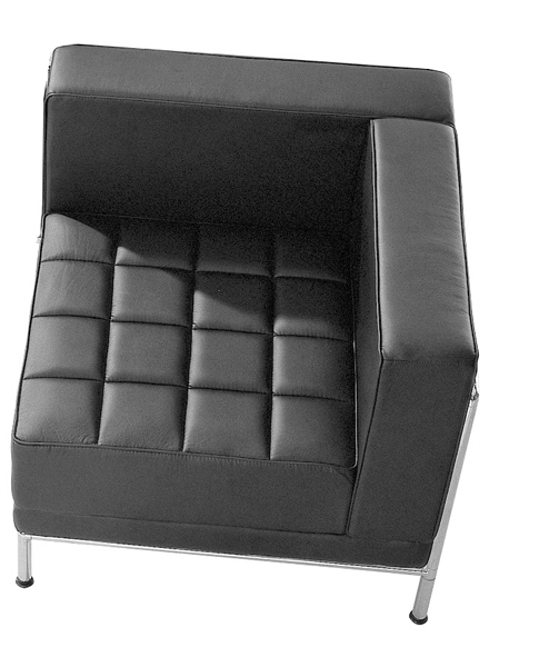 810-1 BLACK LEATHER MODULAR RECEPTION SEATING