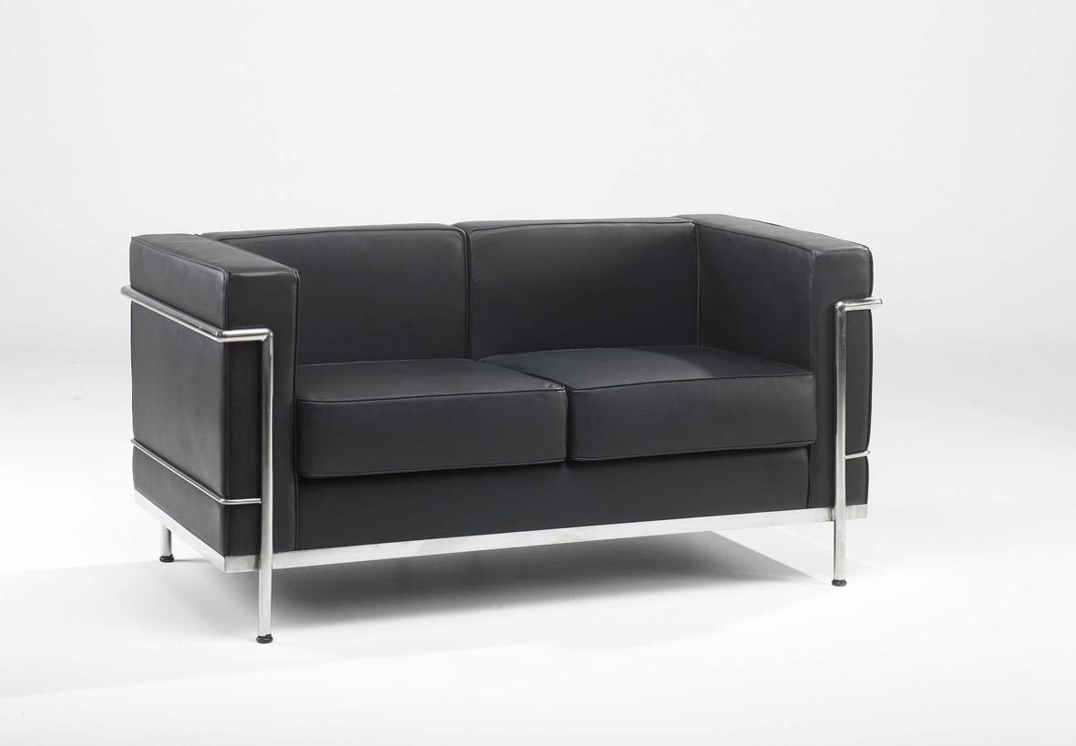 610-2 Black leather 2 seater reception sofa