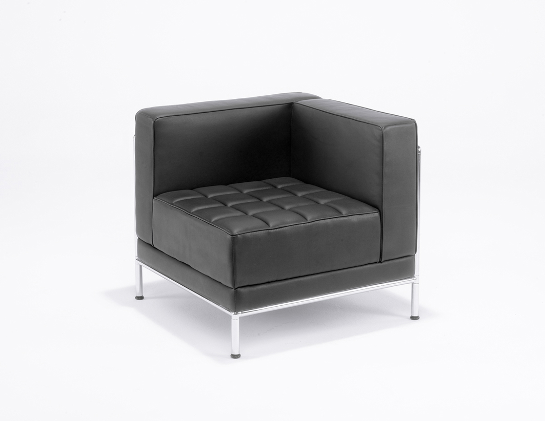 810-RA BLACK LEATHER MODULAR RECEPTION SEATING