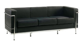 610-3 Black leather 3 seater reception sofa